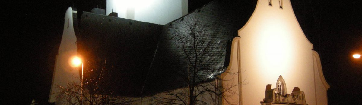 Lang Christuskirche beim Lichtprojekt Jülich
